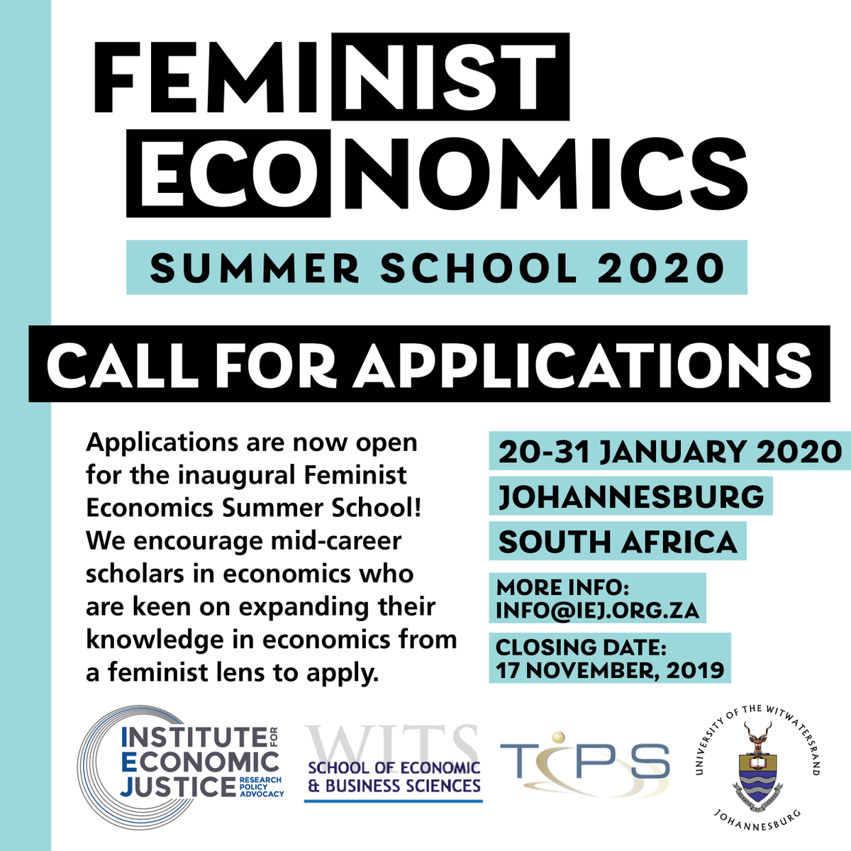 Summer School 2020.Feminist Economics Summer School 2020 At Wits University
